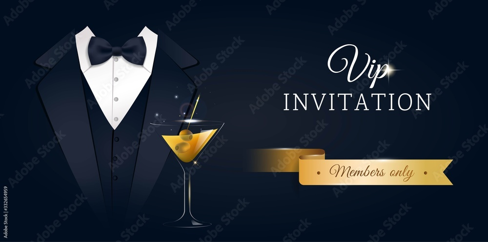 Fototapeta VIP premium horizontal invitation card.  Black banner with businessman suit, tie and martini glass. Black and golden design template. Vector illustration