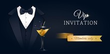 VIP Premium Horizontal Invitation Card.  Black Banner With Businessman Suit, Tie And Martini Glass. Black And Golden Design Template. Vector Illustration