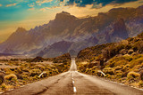 Fototapeta Fototapety z naturą - Image related to unexplored road journeys and adventures.Road through the scenic landscape to the destination in Tenerife natural park.