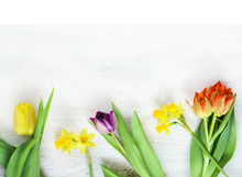 Easter Or Spring Card With Flowers, Copy Space