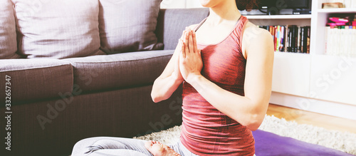 Fototapeta Woman Practicing Yoga and Meditation obraz