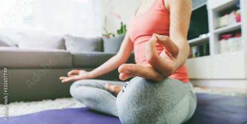 Obraz Woman Practicing Yoga and Meditation - fototapety do salonu