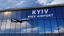 Airplane Landing At Kiev Mirro...