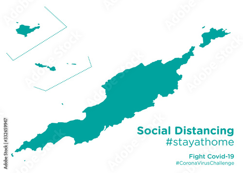 Photo Anguilla map with Social Distancing #stayathome tag.eps