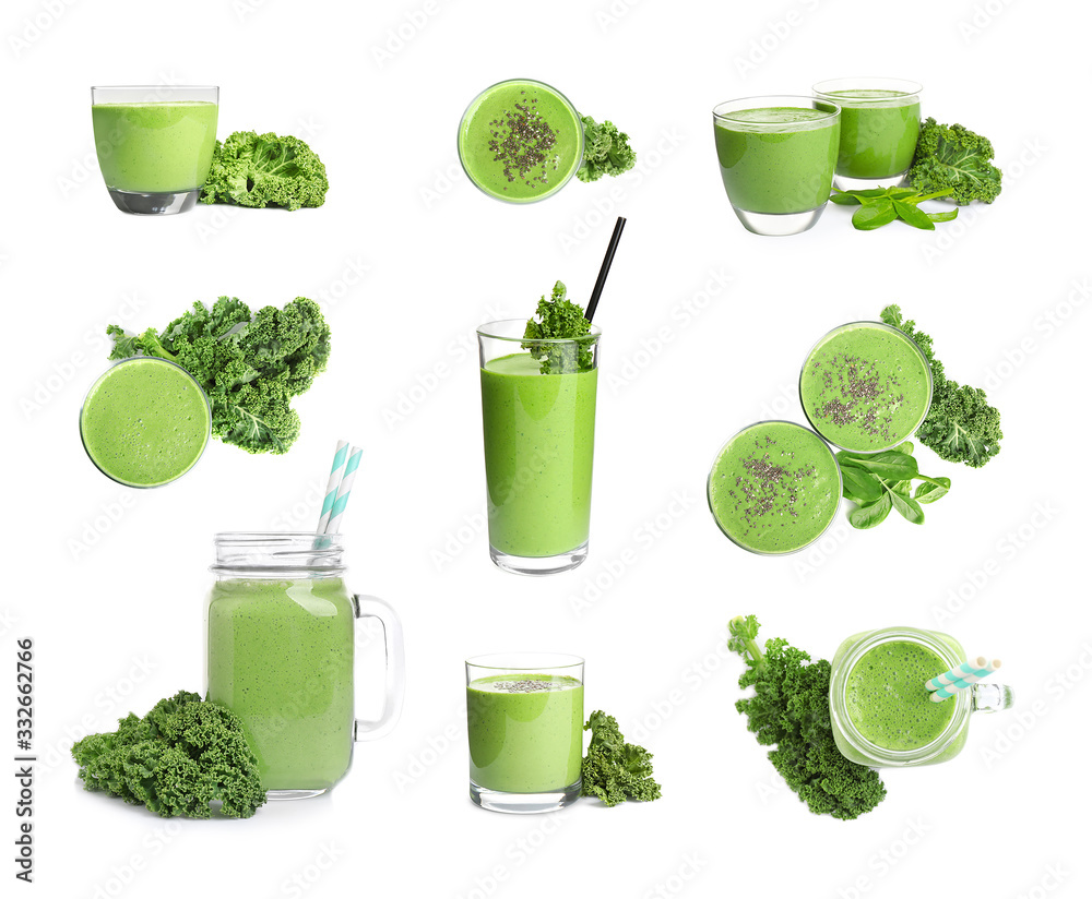 Fototapeta Set of tasty fresh kale smoothie on white background