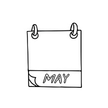 May Month Calendar Page Hand Drawn In Doodle Style. Simple Scandinavian Liner. Planning, Business, Date, Day. Single Element For Design Icon
