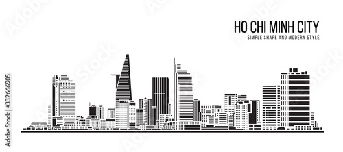 Cityscape Building Abstract Simple shape and modern style art Vector design - Ho Chi Minh city
