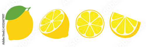 Fotografia, Obraz Fresh lemon icon vector illustrations