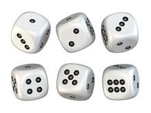 Six White Game Dices Randomly ...