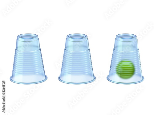 Photo Shell Game three transparent cups and green ball 3D