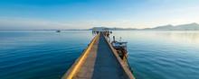 Boat Bridge In Calm Sea In Tha...