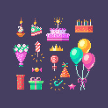 Pixel Art Birthday Set. Cute Bright Icons On Birthday Party.