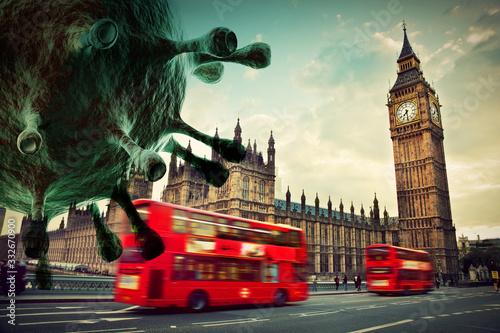 Fototapety, obrazy: Coronavirus attacking London, the UK concept