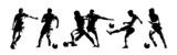 Soccer players, group of footballers. Set of isolated vector silhouettes. Ink drawing. Team sport