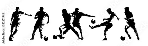 Fototapeta Soccer players, group of footballers. Set of isolated vector silhouettes. Ink drawing. Team sport obraz