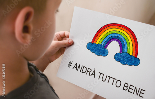 andra tutto bene, Everything is gonna be alright in hand drawing letters and a rainbow with clouds drawn by a child Canvas Print