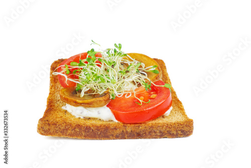 Green alfalfa sprouts,fresh tomatoes on toasted slices of wholegrain bread on wh Wallpaper Mural