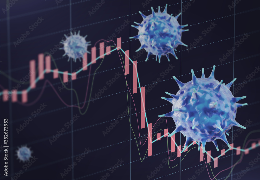 Fototapeta Concept image of financial impact by viruses such as pneumonia, influenza, SARS, coronavirus, and COVID-19.3D rendering image.