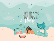 Hand Drawn Vector Stock Abstract Graphic Illustration With A Sunbathing Mermaid Young Girl Lying On Ocean Beach Seashore And Holidays Calling Typography Text Isolated On Colour Background