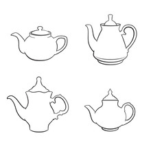 Black And White Sketches Of Teapots. Various Shapes. Coloring Page For Kids And Adults.