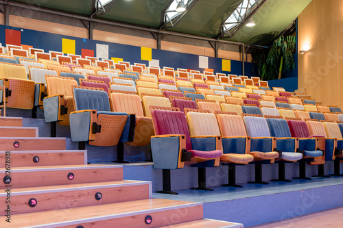 Example of brightly coloured auditorium or theatre fold-up seating Canvas Print