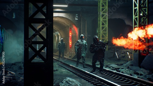 Stalkers in chemical protective clothing walk along an abandoned subway with a flamethrower during a virus epidemic Canvas Print