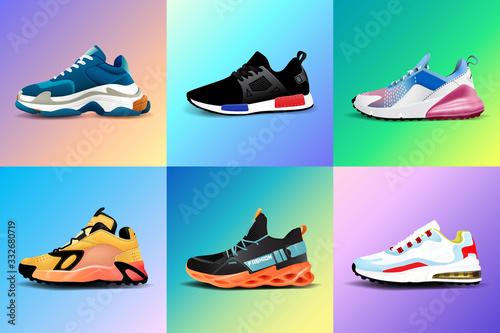 Obraz na płótnie New Fitness sneakers set, fashion shoes for training running shoe