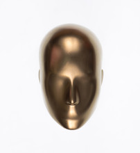 Golden Mannequin Head Isolated On White Background