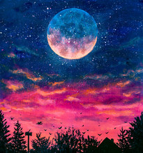 Fantastic Oil Painting Big Planet Moon Over The Night City. Starry Sky, Beautiful Pink Purple Sunset, Black Silhouettes Of Trees And Houses.