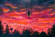Painting Girl Guy Rides On Swi...