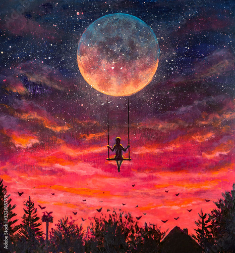Photo Hand painted acrylic painting Girl guy man riding on big moon planet earth