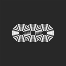Infinity Logo Minimalist Style Infinite Circles Geometric Shape From Chain Loops, Monogram OOO Three Letters O Endless Symbol Black And White Thin Lines