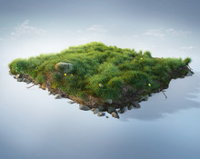 Travel And Vacation Background. 3d Illustration With Cut Of The Ground And The Beautiful Grass And Rocks. Baby Grass Isolated On Blue.