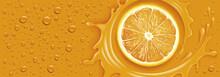 Orange Splash With Many Drops