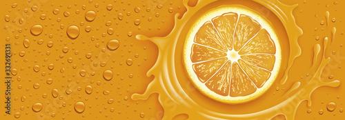 orange splash with many drops Fototapeta