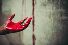 Close Up Of Bloody Hands In Ab...