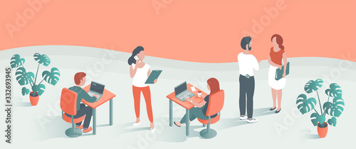 Modern young men and women work in the office. They sit at the table at laptops, communicate on the phone, go with documents. Place for text. Vector illustration of people.