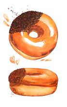 Donut Caramel Sweet Cafe Shiny...