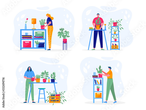 Fototapety, obrazy: Home garden concept. Young people holding plant with leaves, cares for flower, watering, planting, cultivating. Illustration of flowers, plants in pots with people enjoying their hobbies. Vector