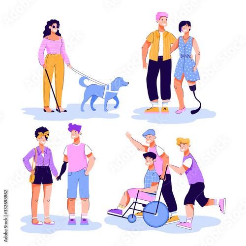 Fototapeta Disabled people having walk and romantic dates vector illustration isolated. obraz na płótnie