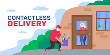 Safe Contactless Delivery To Home Courier With Grocery Products Bag Near The Door Coronavirus Covid 19 Outbreak