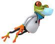 3D Illustration of a frog with a mask