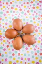 Organic Eggs On A Background O...