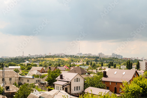 View of the southern residential area Kharkovskaya Gora and TV tower from the side eastern industrial and warehouse district of Belgorod Wallpaper Mural