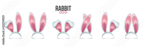 Fotografering Rabbit ears realistic 3d vector illustrations set