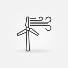 Wind Turbine Creative Vector Icon - Wind Energy Concept Outline Symbol