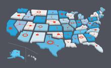 Mappa Degli Stati Uniti Con Linee E Cerchi Rossi Collegati