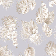 Tropical floral boho dried palm leaves, orchid anthurium flower seamless pattern lavender background. Exotic jungle wallpaper.