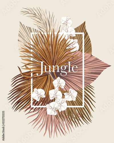 Fototapeta Boho bouquet dried palm leaves orchid flower illustration. Tropical jungle slogan floral vector frame composition. obraz