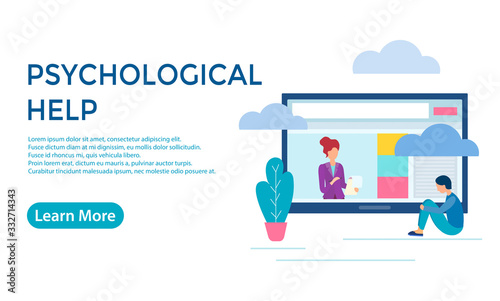 Obraz na plátne Vector illustration Psychological Hepl Online
